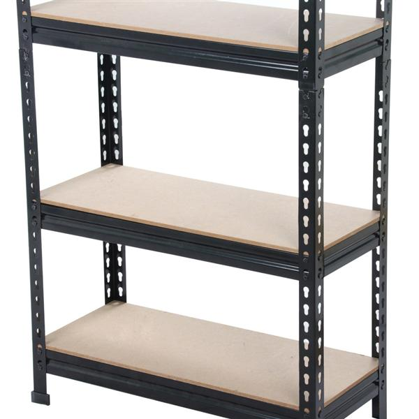5-Tier Black Boltless Storage Shelves Rivet Rack 1653LB Capacity 150 x 70 x 30cm