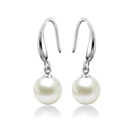 Allencoco popular style 925 sterling silver hook earring with white dangle pearl for all lady