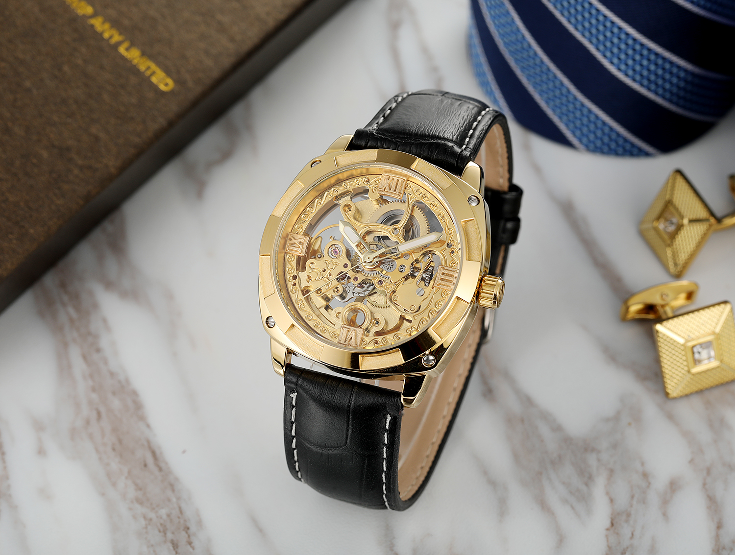 FORSINING Gold Watch Men Luxury Skeleton Automatic Stainless Steel Wristwatch