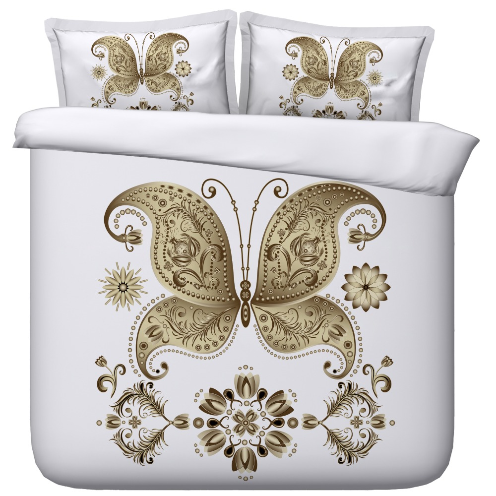 Crisp White Bedding Set with Gold designs and Butterfly 3d bed set