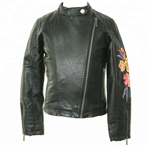 Kids long sleeve embroidered stand-collar black bomber pu leather jacket