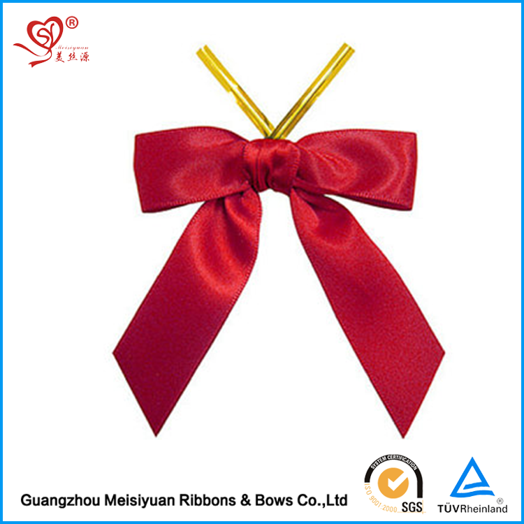 2017 hot sale 3 Inch Red Christmas Pre-made Elastic Satin Ribbon Bow For Gift
