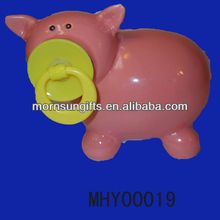Vintage Ceramic Pottery Piggy Bank Pig Money Box With High sale