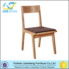 Dining room furniture type industrial wood dining chair with fabric seat