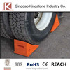 Heavy duty Polyurethane wheel chock with ergonomics handle
