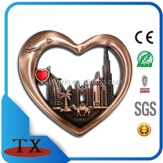 2017 fashion heart shaped fridge magnet /dubai city souvenir fridge magnet