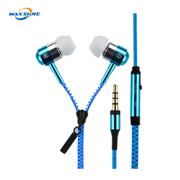 zipper earphone metal for iphone cheap stylish colorful zipper earphones with mic