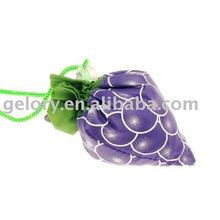 Recycle fruit foldable shopping bag,polyester grape folding shopper bag