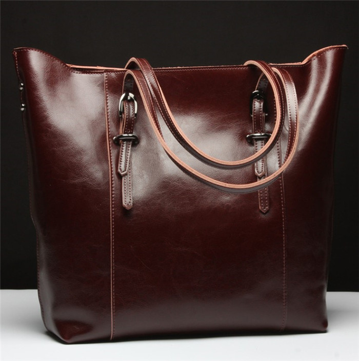 Fashion real leather tote bag for women lady handbags manufactures china_1