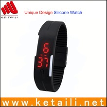 Custom design fashion digital silicone bracelet watch silicon led wrist watch
