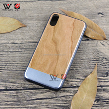 Round wood tpu case phones accessory for IPhone7, wood metal case hard wood mobile cell for IPhone 8