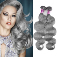 Yvonne 6a grade brazilian body wave hair grey human hair weaving