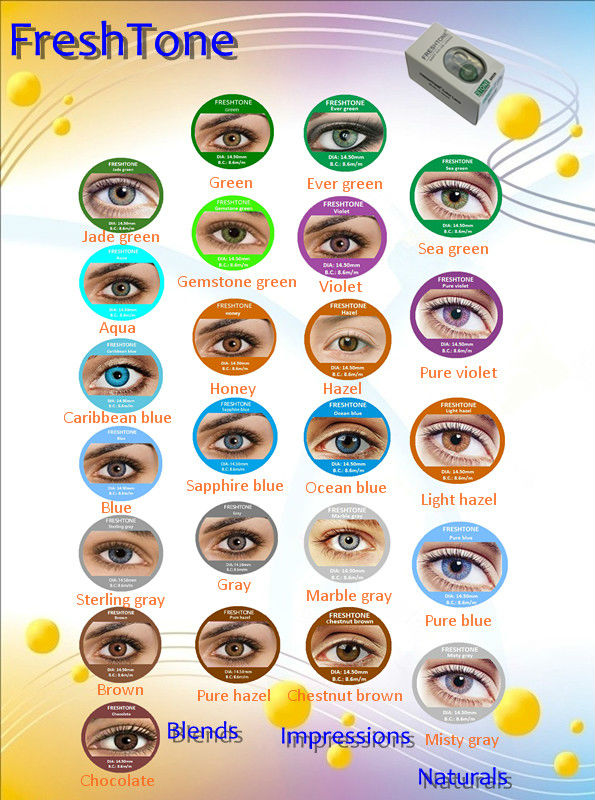 Wholesale soft Freshtone cheap color contact lenses / Plano cheap korean cosmetic lens 25 colors in stock