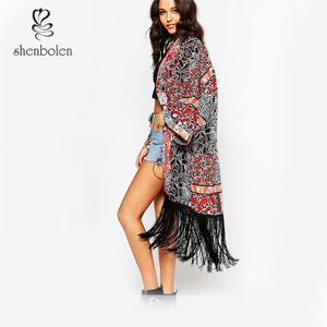 Wholesale New 2016 Paisley Long Boho Printed Fringed Kimono With Tassels In Patchwork Festival Print