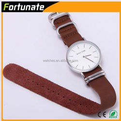 2015 Hot Sale Custom Leather Watch Manufacturer, Slim Leather Watch with Changeable Leather Zulu Watch Strap