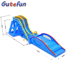 commercial custom made cheap exciting giant adult inflatable drop kick water slide for sale