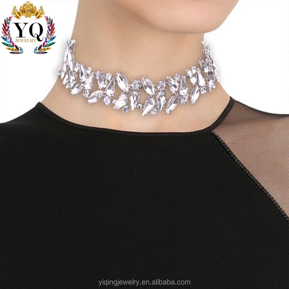 NYQ-00473 wholesale newly handmade trendy fashion crystal rhinestone main stone choker collar necklace jewelry for women