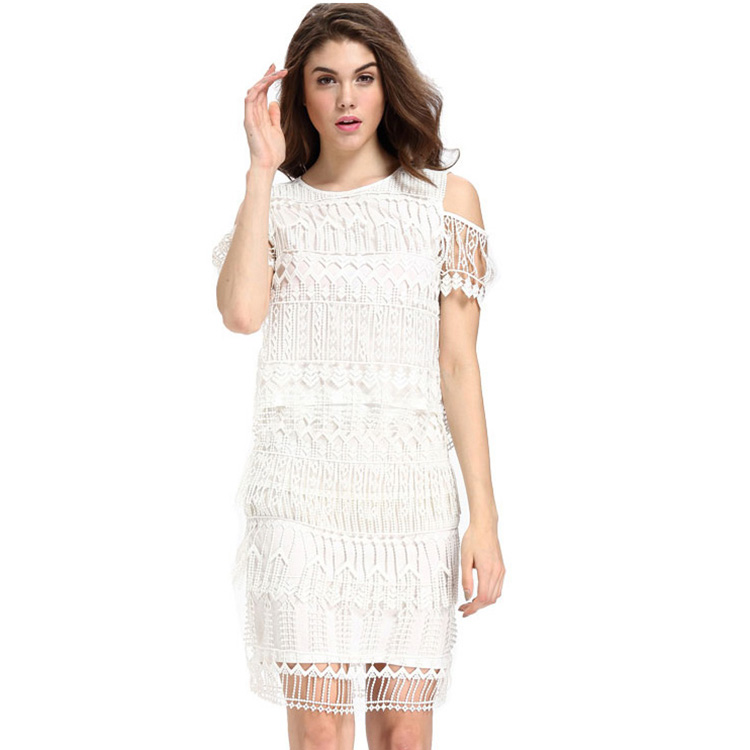 Wholesale Cheap Sexy Knee-length Ladies Lace Dresses 2 Piece Set Style Customized Women Casual hollow out White Lace Dress