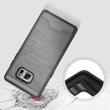 Card Holder Slot For Samsung Galaxy Note 7 Case Brushed Hybrid Armor Phone Case