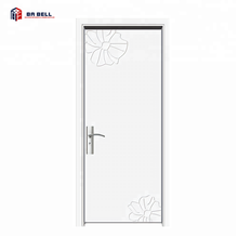 paint white series carving design main entry solid wooden door