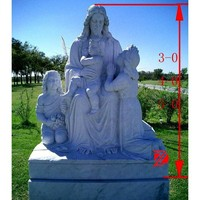 natural stone jesus with children statue