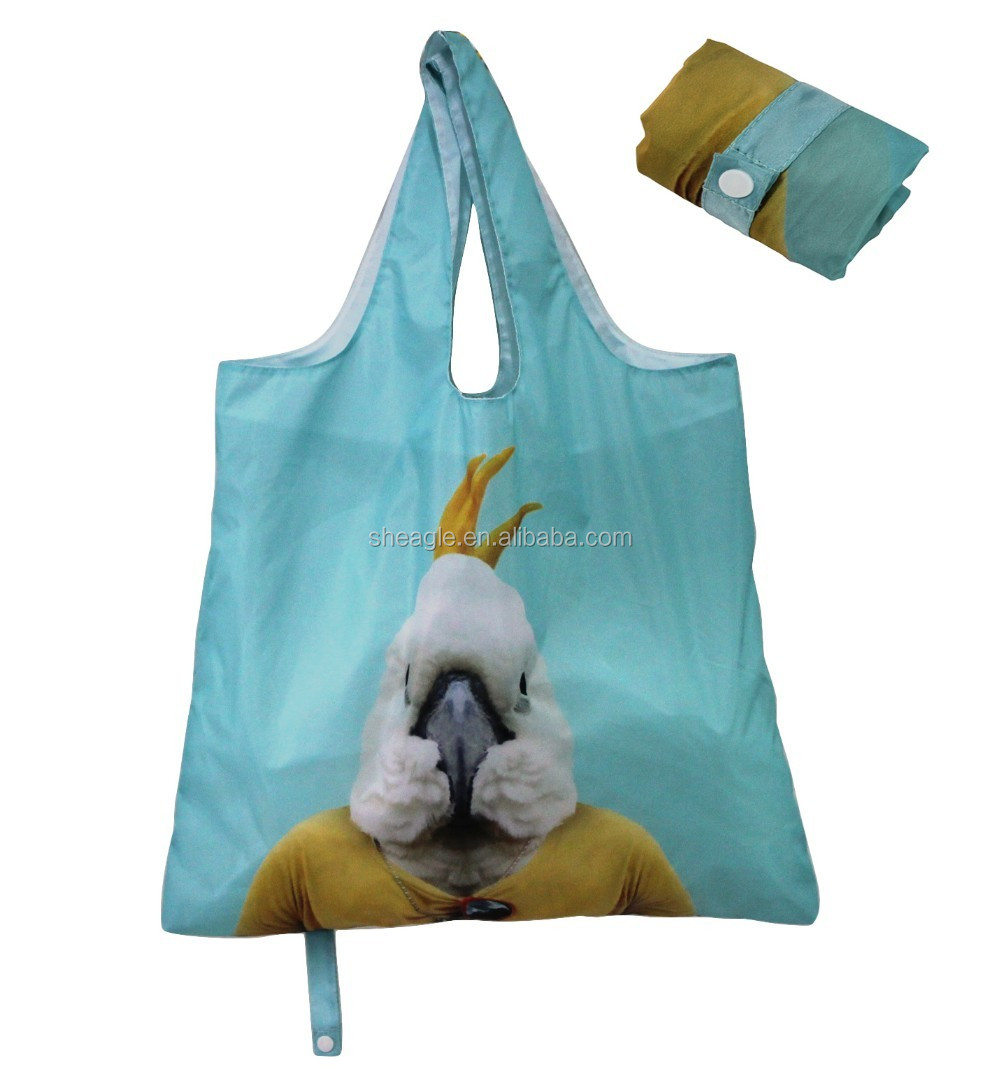 Cheap discount Polyester disposable foldable shopping <strong>bag</strong> with snap closure