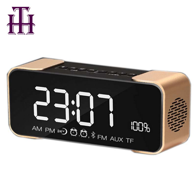 Best selling 2018 USA Alarm clock Stereo Super Bass Bluetooth Speaker with TF/ FM LED Sreen Portable Music Wireless Speaker
