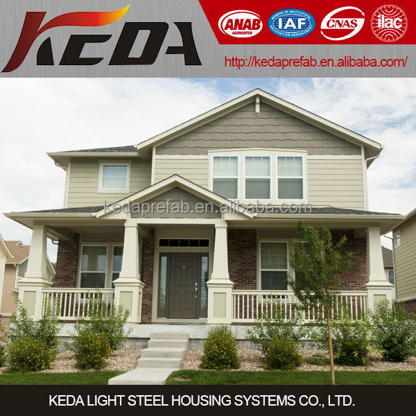 Two Storeys Prefabricated Steel Frame Villa Luxury Residential House