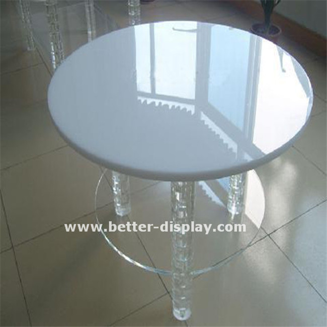 high quality white acrylic dinning table with transparent table leg