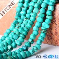 Istone Wholesale Natural Turquoise Stone Green Howlite Loose Beads For Jewelry Making