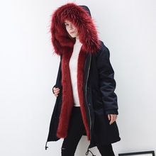 Factory supplier custom order warm faux fox fur lining parka long coat