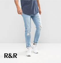 New style custom high quality urban wear mens denim jeans men skinny ripped wholesale damaged jeans from China