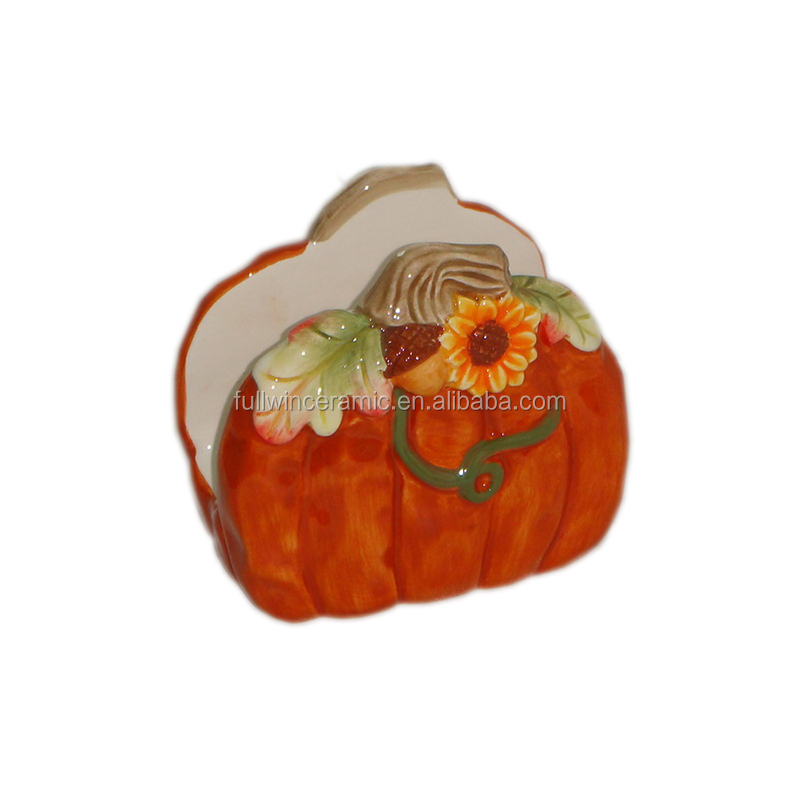 Ceramic Wholesale FDA Table Decoration Pumpkin Napkin Holder