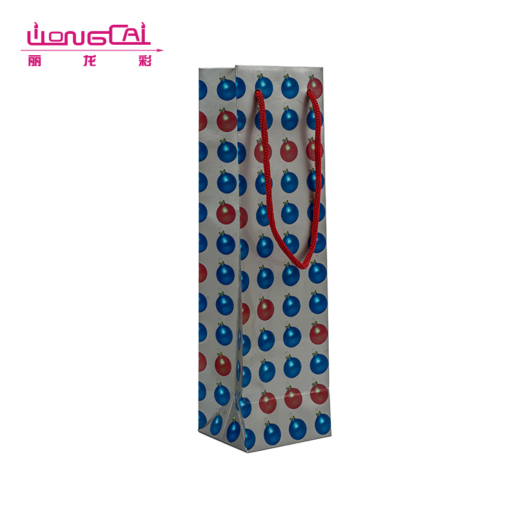 Wholesale unique printing rope handle tube paper bags for bottle