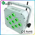 led battery powered wireless dj party wedding lights 9*15W RGBWA 5in1 led flat light