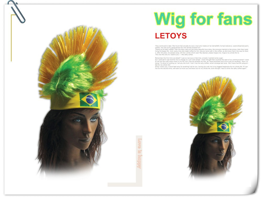 Brazil Football Fans wig for head decoration