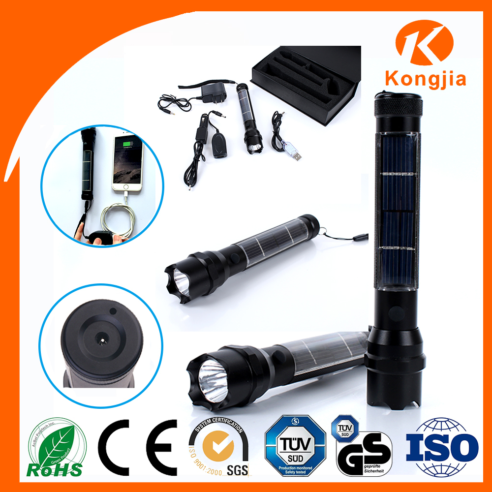 Solar Power Rechargeable Emergency Torch Aluminum Outdoor Led Solar Flashlight Torch Light Price
