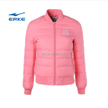 ERKE wholesale solid color full zip brand baseball collar womens feather goose winter down jacket without hood
