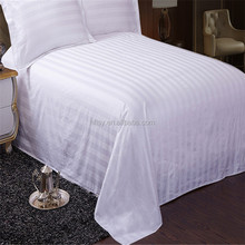 100% Cotton Fabric Bed Linen 3cm Stripe Hotel bedding Set with cheap price