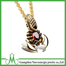 Fashion Italy stainless steel pendant charm red diamond pendant unisex plating gold jewelry