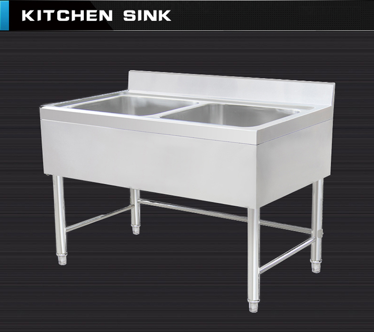 Separated Assembled Double Bowls Commercial Industrial Stainless Steel  Kitchen Cabinet With Sink For Washing Vegetable Food
