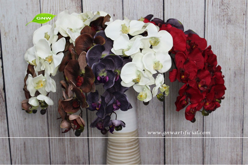 GNW FL-OK93-40-8 wholesale colorful artificail orchid flower for indoor decoration