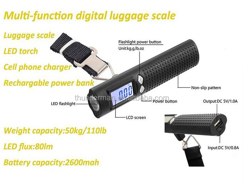 Newly 50kg digital luggage scale with 2600mAh Power Bank for suitcase,shopping,gift sale&family use with black strap&LCD display