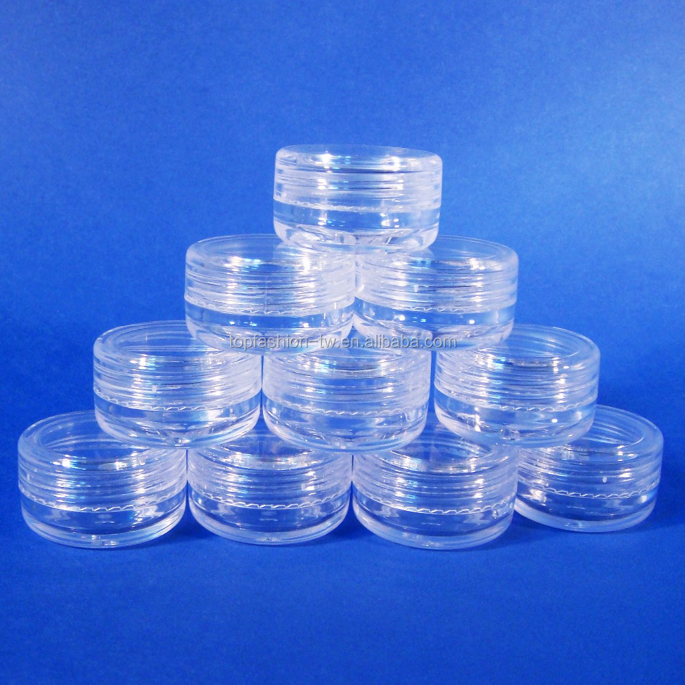 500 Bulk Bottle Cap Screw Off Container Mini Jar Clear Plastic Sample Case 3g (AY170(3)-C=500 pcs)