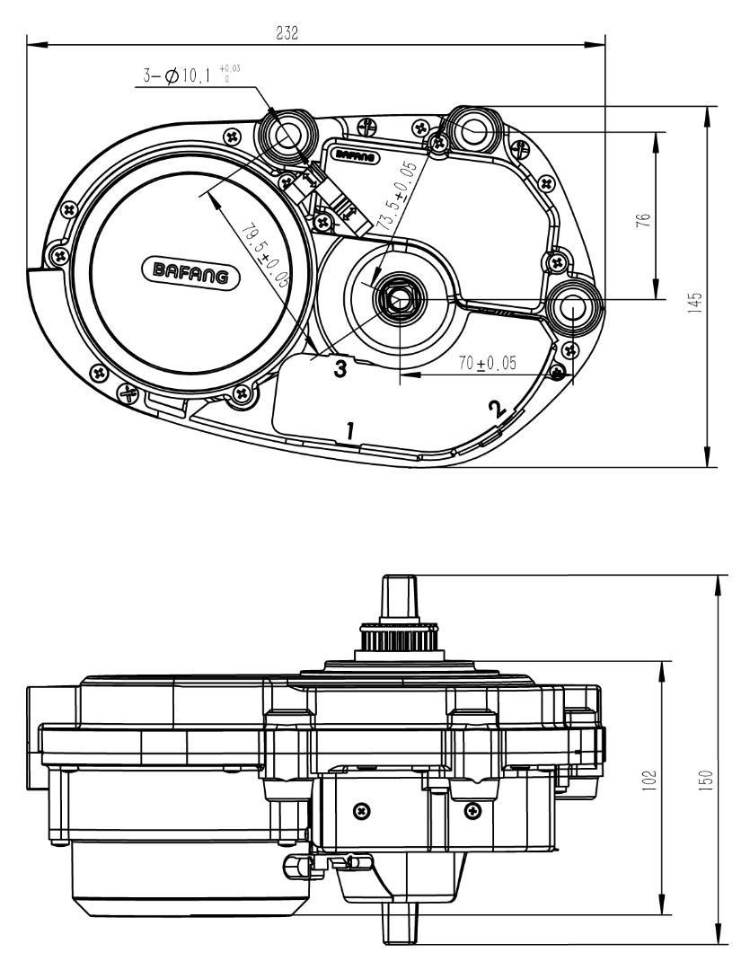 36v 250w bafang max drive mid crank motor  8 fun mid drive motor kit  bike