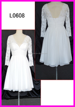 V-neck chiffon A-line wedding dresses with hidden zipper knee length wedding dresses with sleeves