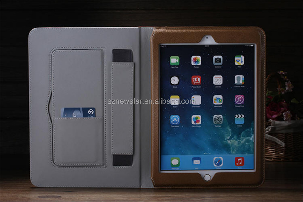 Leather case with multiple position stand for Apple iPad Air 2