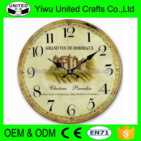 2016 wholesale Yiwu MDF wall clock for home decoration