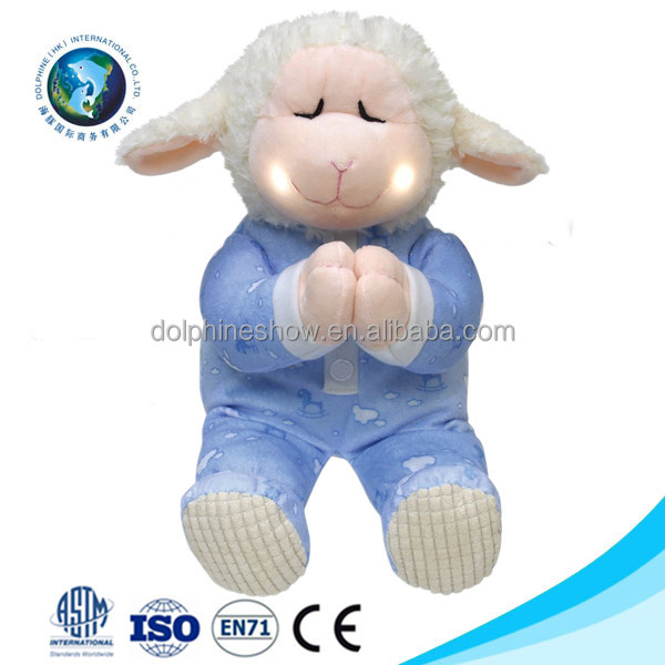 Musical plush blue LED night light sheep toy fashion OEM custom cartoon cute soft plush praying stuffed sheep toy