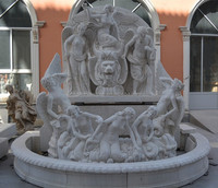 marble outdoor fountain with lady statue